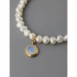 Collar de plata fina con perla y circonias