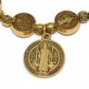 Rosario pulsera dorado San Benito
