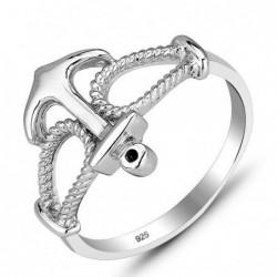 anillo ancla en plata de ley