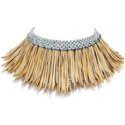 Hojas oro 18 k engastado a collar de 200 diamantes