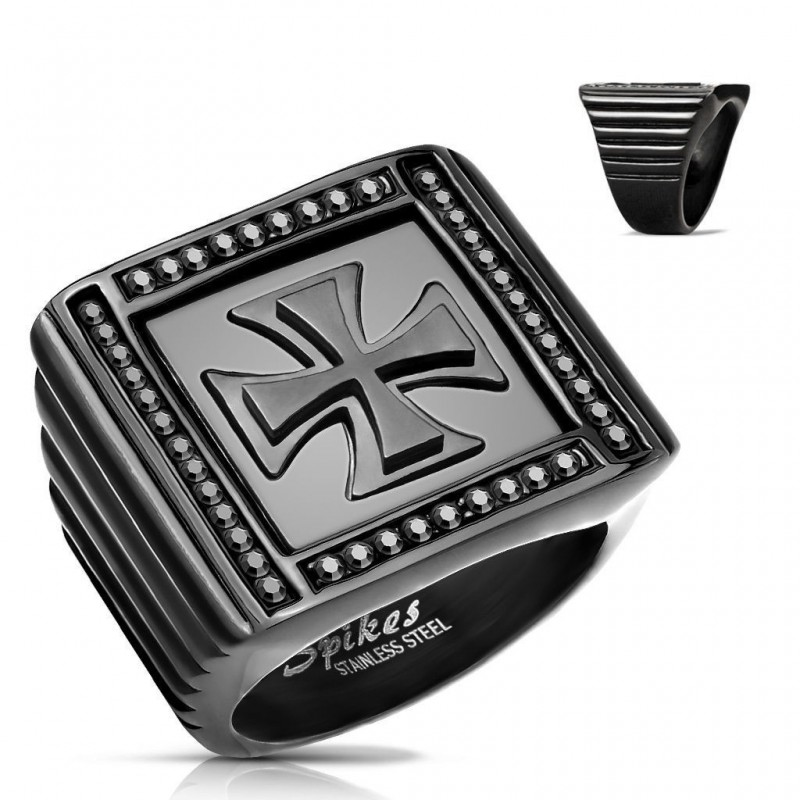 Anillo Iron Cross Black