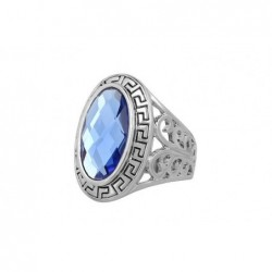 Anillo de acero con cristal azul cielo-Talla 22