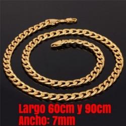 Cadena bañada en oro 9 k de 7mm - elija largo