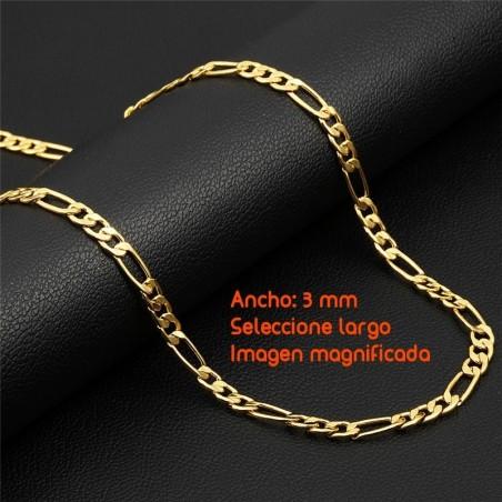 Cadena figaro chapada en oro de 3 mm de ancho