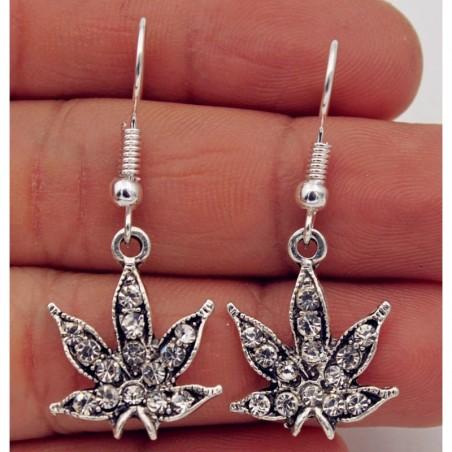 Pendientes hojas de marihuana