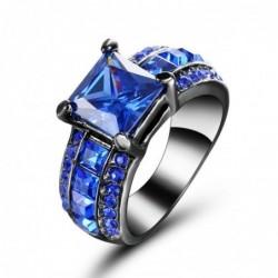 Anillo de acero chapado en rodio con piedra azul-Talla 14