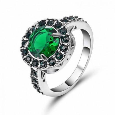 Anillo de acero chapado en rodio con piedra verde-Talla 19