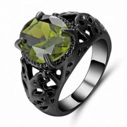 Anillo de acero con piedra verde oliva-Talla 17