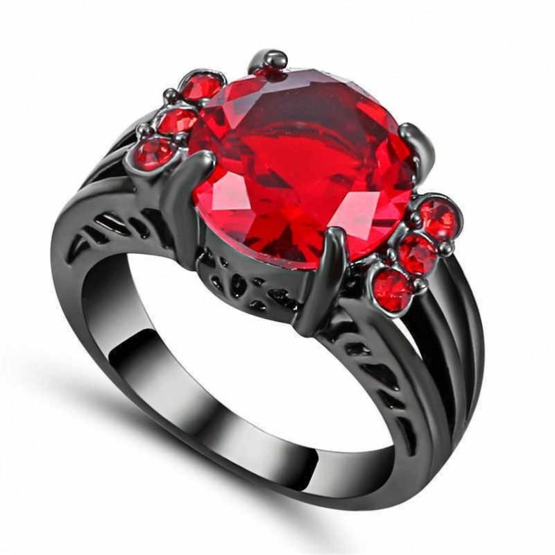 Anillo de acero negro con piedra imitación rubí-Talla 14