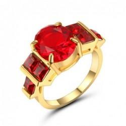 Anillo de 5 piedras rojas en talla 17