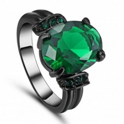 Anillo de acero negro con piedra verde-Talla 19