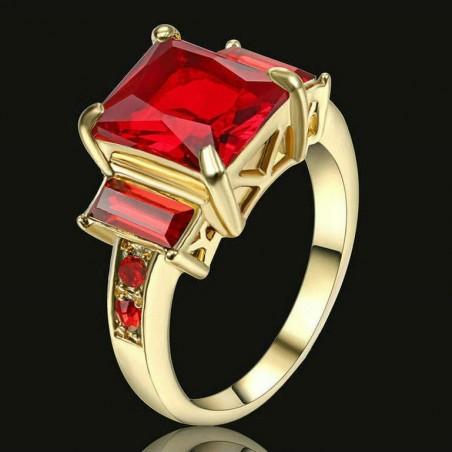 Anillo con piedras cristal rojo-Talla 17