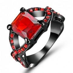 Anillo de acero negro con piedra roja-Talla 14