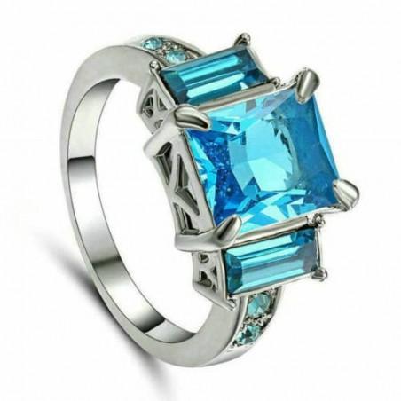 Anillo con piedra azul-Talla 14