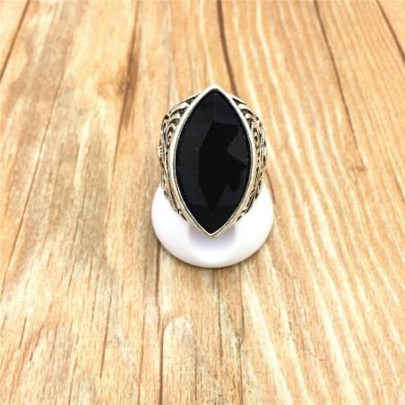 Anillo de acero con piedra negra-Talla 22