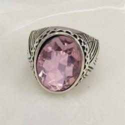 Anillo vintage piedra rosa - Talla 24
