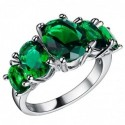 Anillo plateado de mujer con piedras verdes - Talla 12