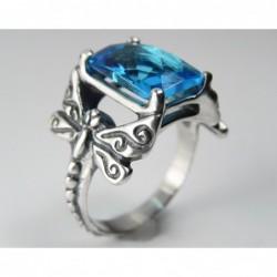 Anillo con piedra cristal topacio azul - Talla 22