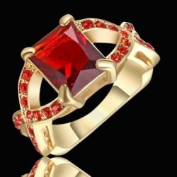 Anillo para mujer con piedras rojo rubí - Talla 14