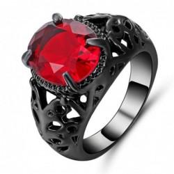 Anillo de mujer con piedra rojo rubí - Talla 12