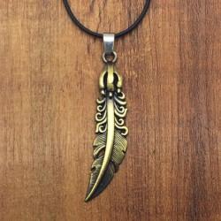Collar con colgante pluma de bronce