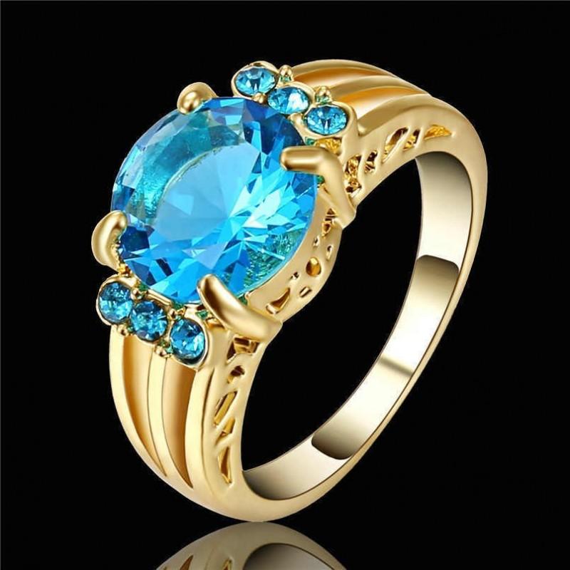 Anillo de mujer con piedra azul cielo - Talla 17