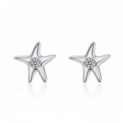 Pendientes estrella de mar con piedra