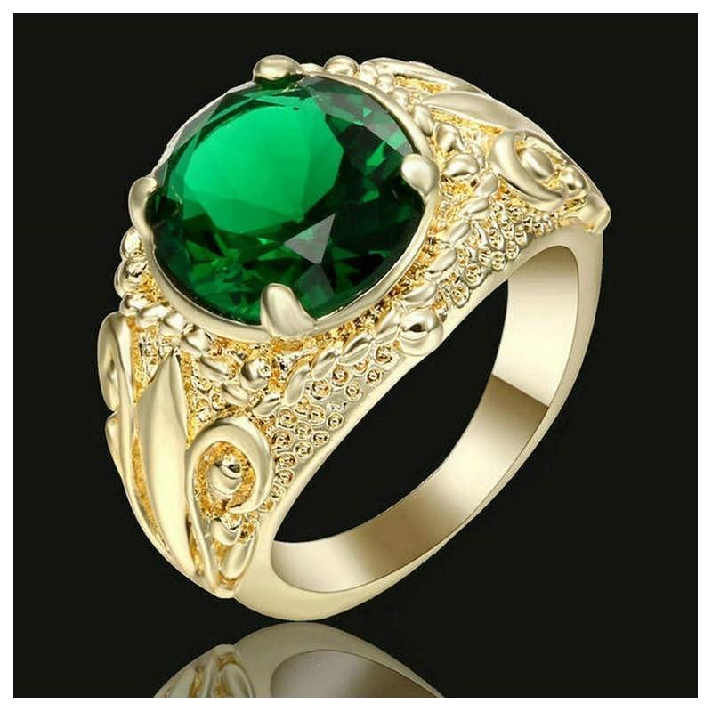 Anillo para mujer con piedra verde - Talla 14