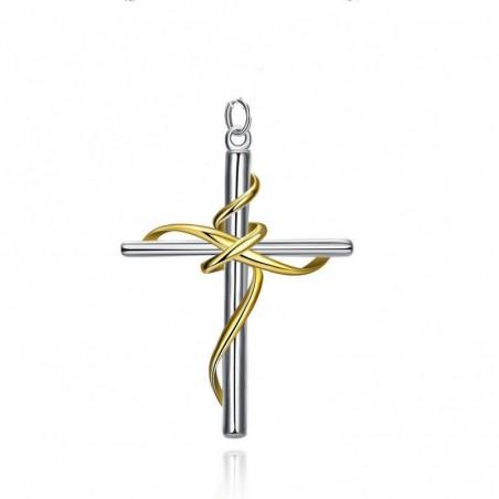 Colgante Cruz bañada en plata y oro