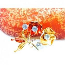 Broche con dos flores y piedras - Betsey Johnson