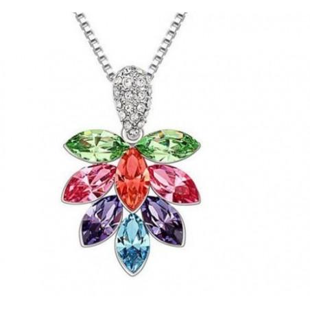 Collar de mujer con Hoja Arce de cristales de colores