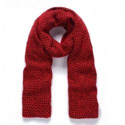 Fular rojo y negro tejido grueso de 200X60 cm