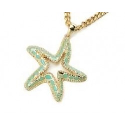 Collar de mujer dorado con colgante estrella de mar esmaltado