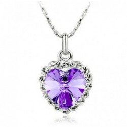 Collar de mujer con colgante corazón púrpura