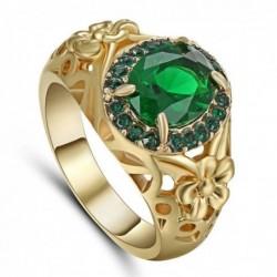 Anillo bañado en oro con piedra verde esmeralda para mujer - Talla 14