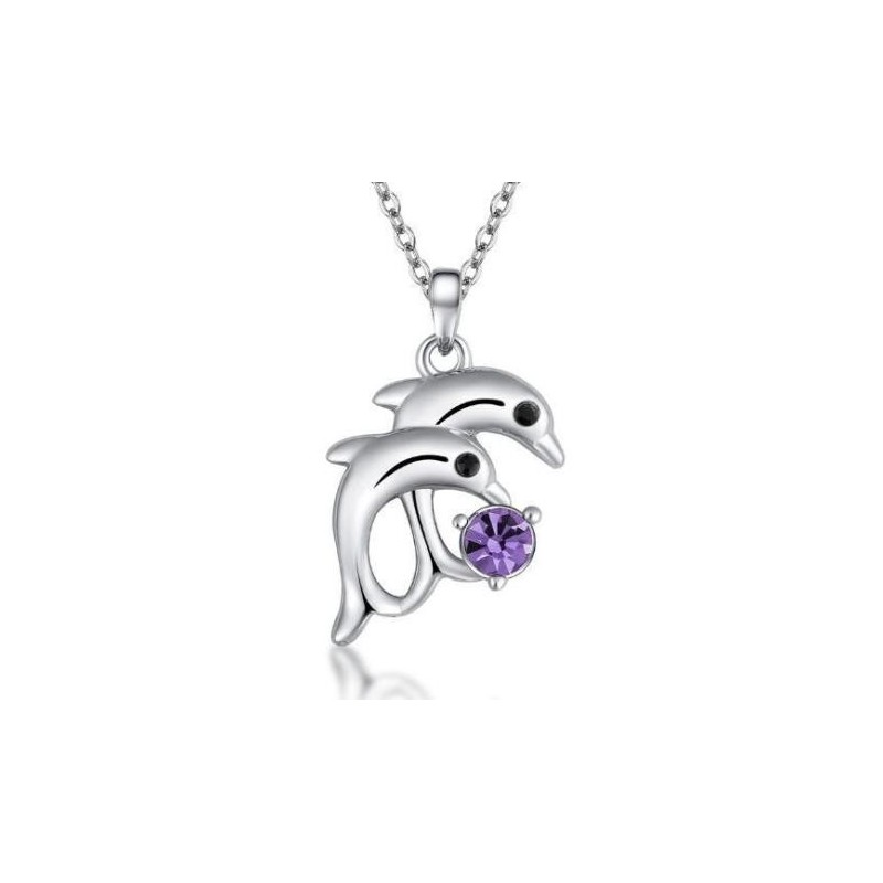Collar bañado en plata con piedra cristal púrpura para mujer