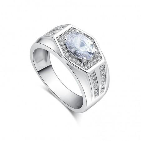 Anillo con piedra cristal blanca bañado en plata - Talla 17