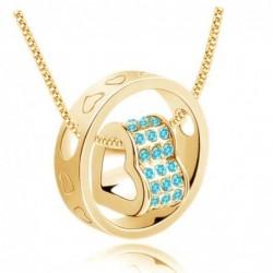 Collar de mujer con baño de oro de 9k y piedras cristal azul