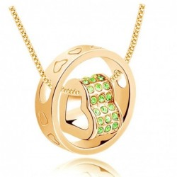 Collar de mujer con baño de oro de 9k y piedras cristal verde