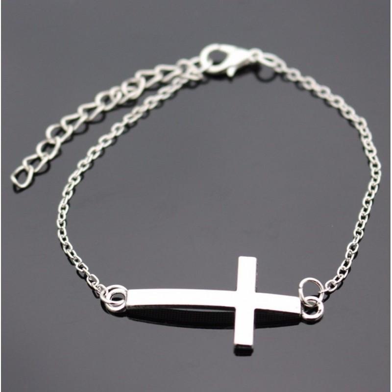 Pulsera con cruz horizontal bañada en plata