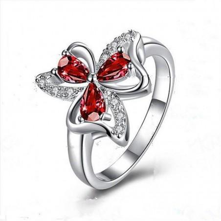 Anillo de mujer con piedras rojas y blancas - Talla 17