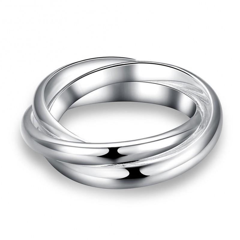 Anillo para mujer de triple alianzas bañado en plata