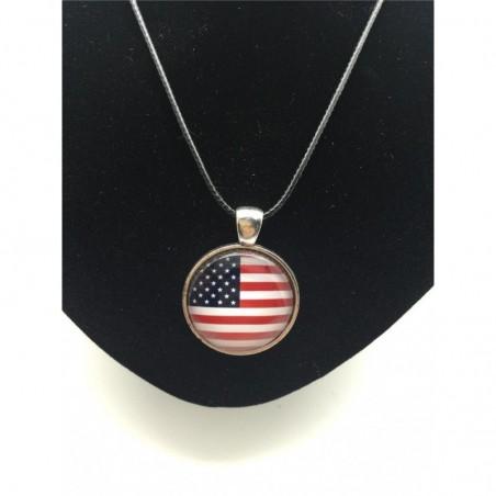 Collar unisex con colgante bandera americana