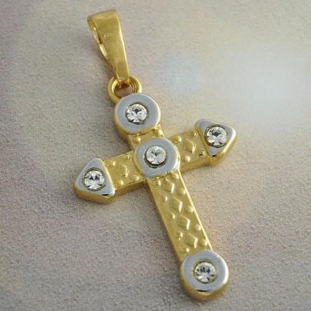 Colgante cruz dorada con piedras - 3,5x1,8 cm