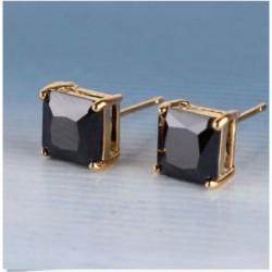 Pendientes con chapado en oro y piedra cristal negra