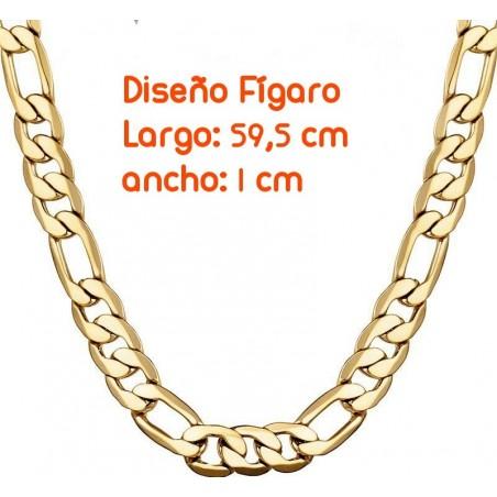 Cadena fígaro chapada en oro 18k de 1cm de ancho