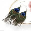 Pendientes para mujer con pluma natural