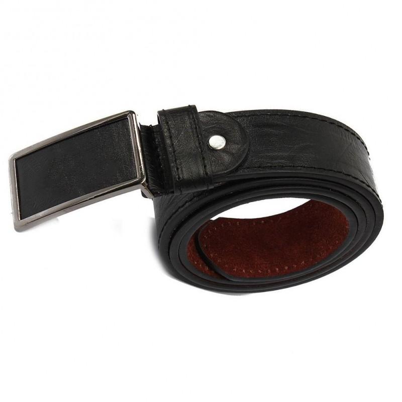 Cinturón de piel con hebilla de cierre automático - 120cm