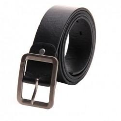 Cinturón simil piel negro con hebilla metálica - 108cm