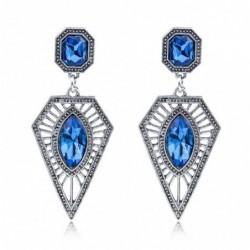 Pendientes plateados con piedras azules